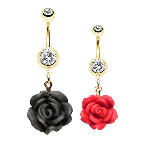Kissed by a Rose Belly Dangle - Dangling Belly Ring. Navel Rings Australia.