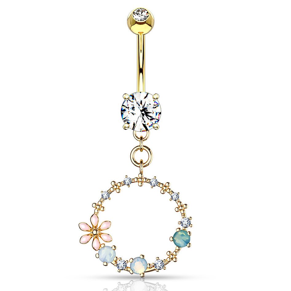 Hoola Matrix Belly Dangle in Gold - Dangling Belly Ring. Navel Rings Australia.