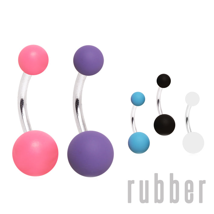 Rubber Ball Classique Belly Rings - Basic Curved Barbell. Navel Rings Australia.