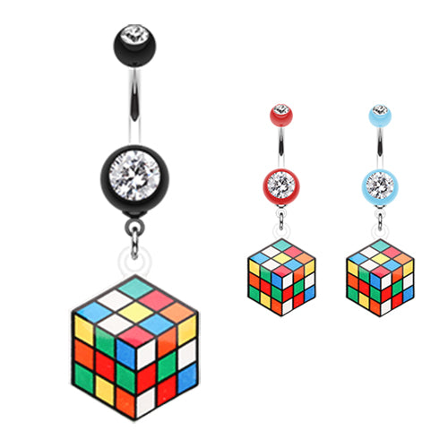 Puzzler Rubix Cube Belly Bar - Dangling Belly Ring. Navel Rings Australia.