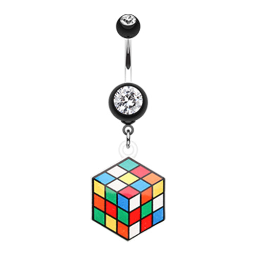 Dangling Belly Ring. High End Belly Rings. Puzzler Rubix Cube Belly Bar