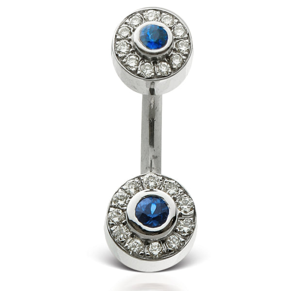 Genuine Blue Sapphire & Diamond Ice Pave Belly Rings by Maria Tash - Fixed (non-dangle) Belly Bar. Navel Rings Australia.