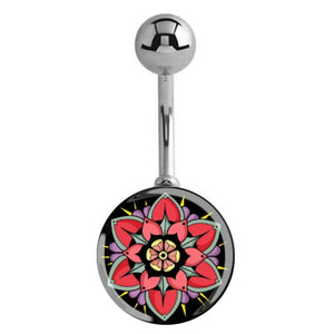 Coral Blooms Belly Ring - Basic Curved Barbell. Navel Rings Australia.