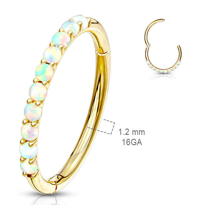 Earring. Quality Belly Rings. Opal Septum & Earring Body Jewellery in 14K Gold