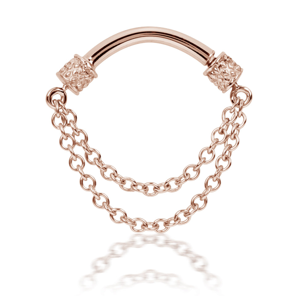 Double Chain Septum Spinner By Maria Tash 14k Rose Gold 16g Or