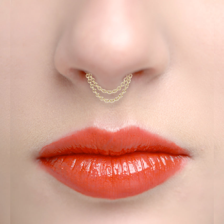 Septum. Navel Rings Australia. Double Chain Septum Spinner by Maria Tash in Gold