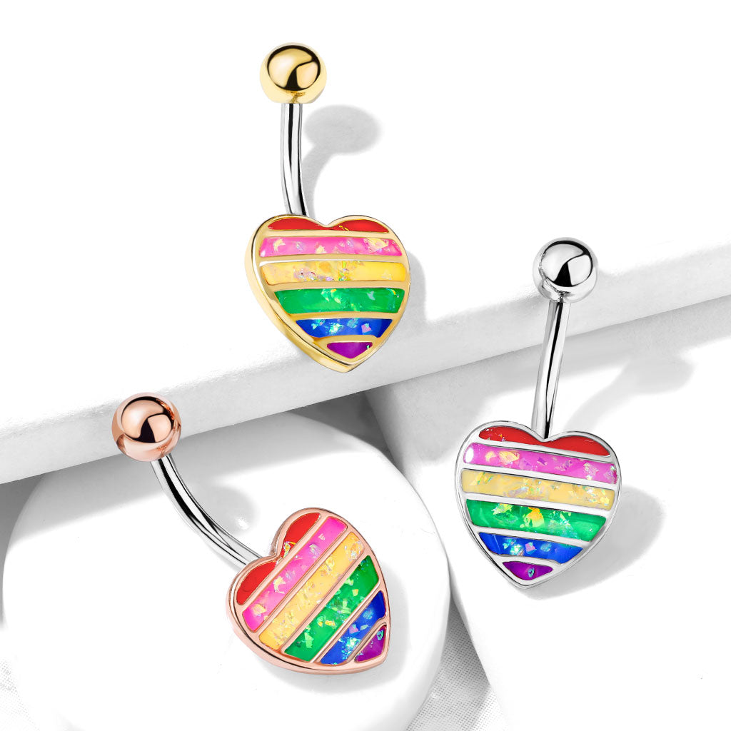 Fixed (non-dangle) Belly Bar. Cute Belly Rings. Opal Gay Pride Rainbow Belly Rings in Gold