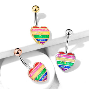 Opal Gay Pride Rainbow Belly Rings in Gold - Fixed (non-dangle) Belly Bar. Navel Rings Australia.
