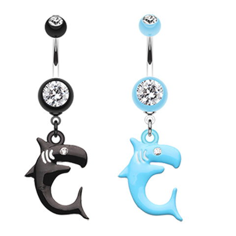 Dangling Belly Ring. Belly Bars Australia. Jaws Shark Attack Belly Piercing Ring
