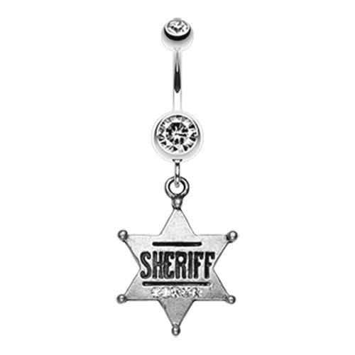 Sheriff Star Badge Belly Dangle - Dangling Belly Ring. Navel Rings Australia.