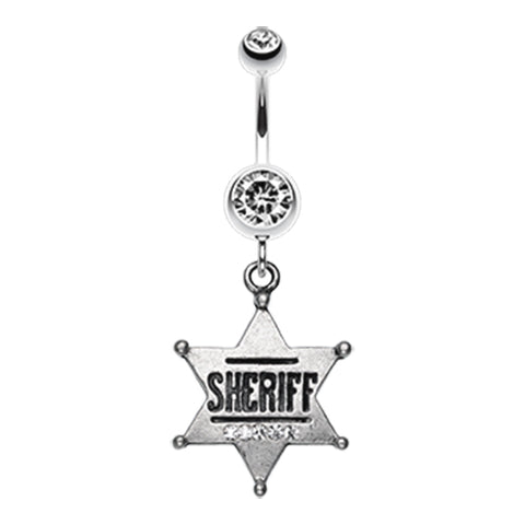 Sheriff Star Badge Belly Dangle