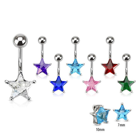 Fixed (non-dangle) Belly Bar. Quality Belly Bars. Star Solitaire Belly Ring. Petite and Mega Star Gems.