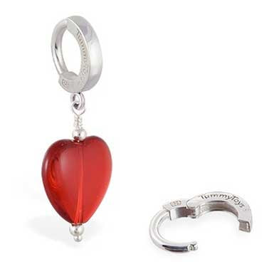 TummyToys® Patented Clasp. Quality Belly Rings. TummyToys® Silver Glass Heart Belly Huggy