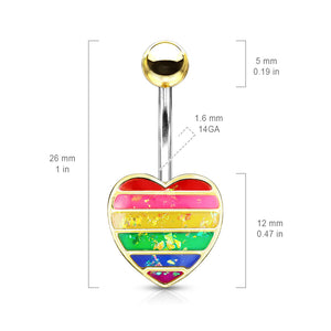 Opal Gay Pride Rainbow Belly Rings - Fixed (non-dangle) Belly Bar. Navel Rings Australia.