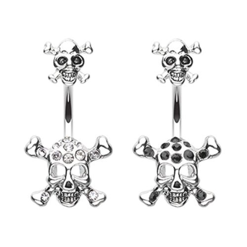 Split Double Skull Belly Button Ring - Split Spinal Belly Bar. Navel Rings Australia.