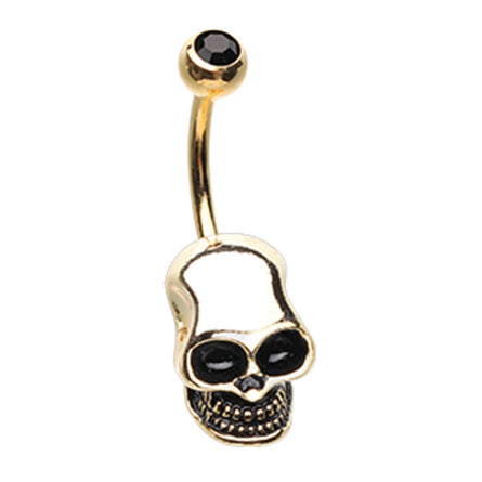Deathly Skull Belly Bar in Gold - Fixed (non-dangle) Belly Bar. Navel Rings Australia.