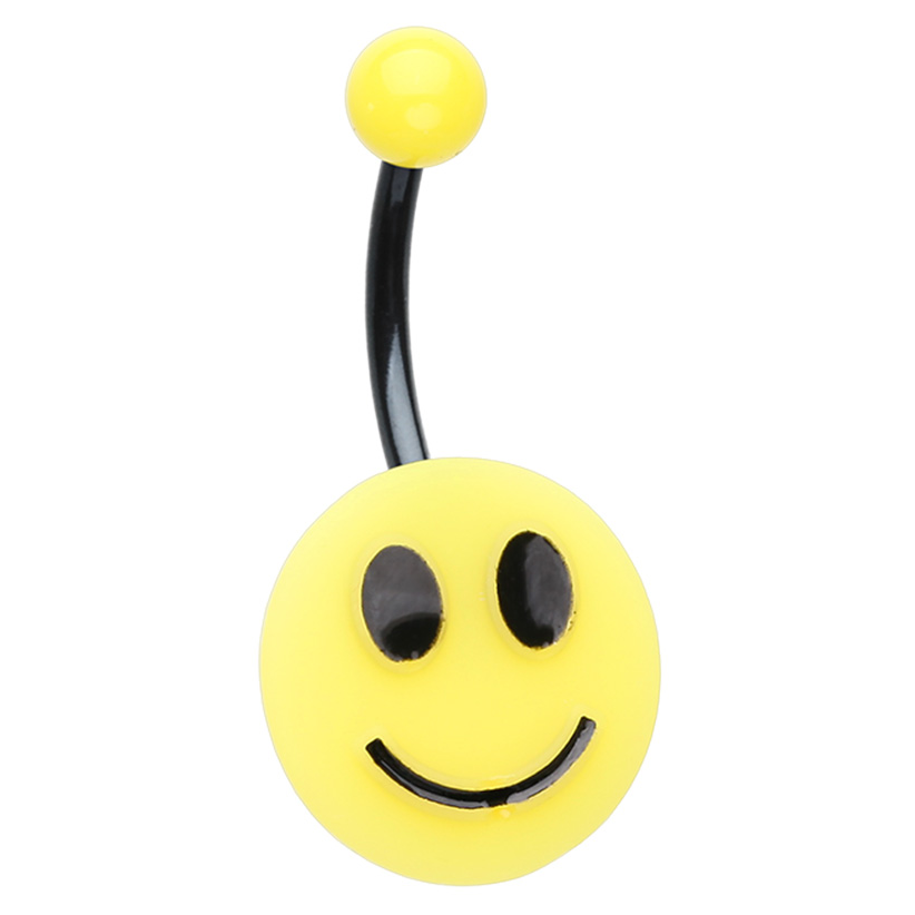 Happy Days Smiling Navel Bars - Basic Curved Barbell. Navel Rings Australia.