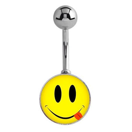 Cheeky Tonque Smiley Face Belly Ring - Basic Curved Barbell. Navel Rings Australia.