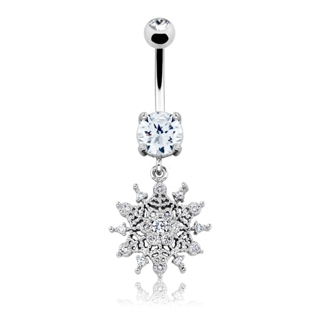 Winter Chills Snowflake Belly Bar - Dangling Belly Ring. Navel Rings Australia.