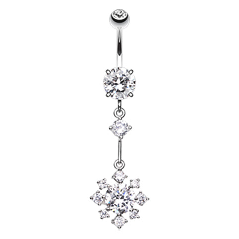 Fallen Snowflake Belly Bar - Dangling Belly Ring. Navel Rings Australia.