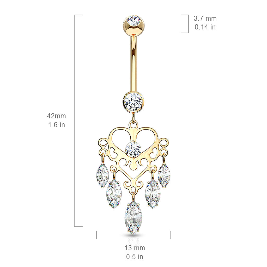 Dangling Belly Ring. Belly Bars Australia. 14K Gold Marquise Heart Chandelier
