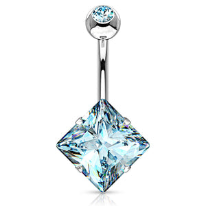 Diamanté Solitaire Belly Ring - Fixed (non-dangle) Belly Bar. Navel Rings Australia.