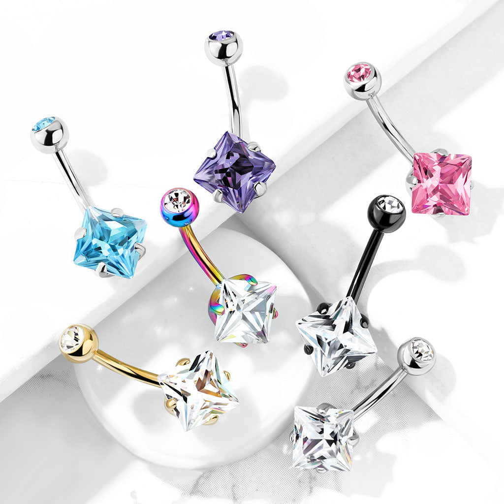 Fixed (non-dangle) Belly Bar. High End Belly Rings. Diamanté Solitaire Belly Ring in Gold