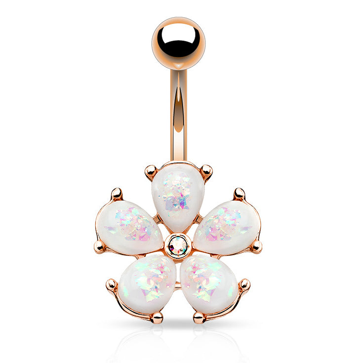 Scintillare Opal Daisy Belly Ring in Rose Gold - Fixed (non-dangle) Belly Bar. Navel Rings Australia.