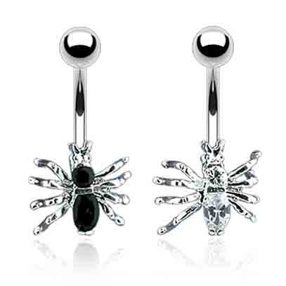 Incy Wincy Spider Belly Ring - Fixed (non-dangle) Belly Bar. Navel Rings Australia.