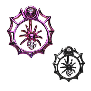 Orbital Metallic Spider Web Belly Button Ring - Orbital and Shield. Navel Rings Australia.