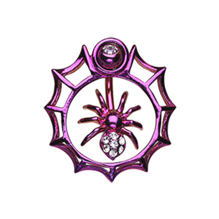 Amethyst Orbital Metallic Spider Web Belly Button Ring