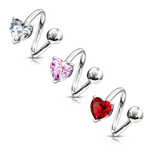 Heart Spiral Belly Button Rings - Spiral Twister Twistie. Navel Rings Australia.