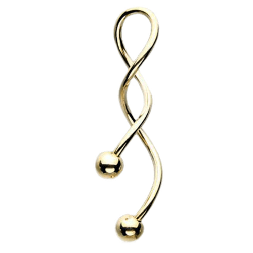 Totally Twisted Belly Ring in 14K Gold - Spiral Twister Twistie. Navel Rings Australia.
