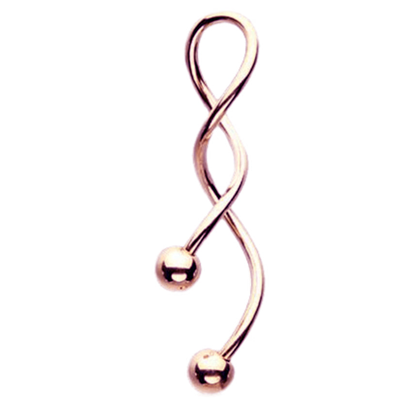 Totally Twisted Belly Ring in 14K Rose Gold - Spiral Twister Twistie. Navel Rings Australia.