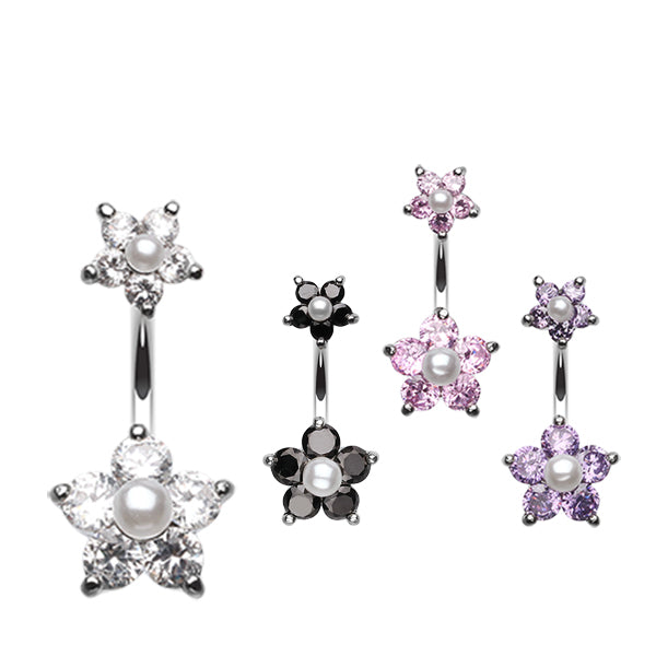 Split Crystallised Pearl Flower Belly Ring - Split Spinal Belly Bar. Navel Rings Australia.