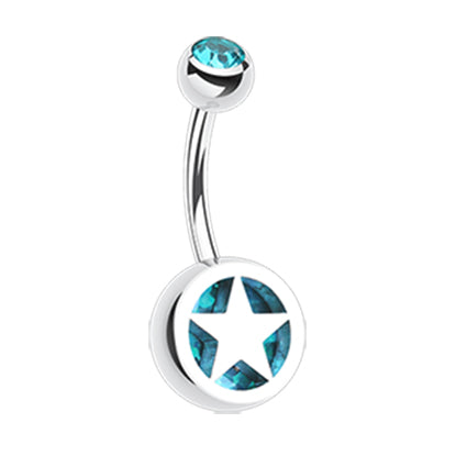 Basic Curved Barbell. Buy Belly Rings. Star Colour Inlay Belly Rings