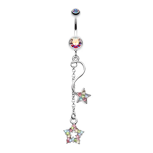 Dangling Belly Ring. Quality Belly Bars. Shooting Star Galaxy Belly Button Ring