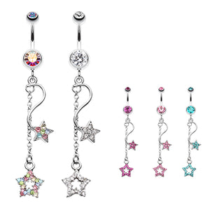 Shooting Star Galaxy Belly Button Ring - Dangling Belly Ring. Navel Rings Australia.