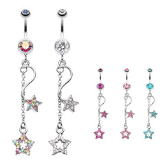 Shooting Star Galaxy Belly Button Ring