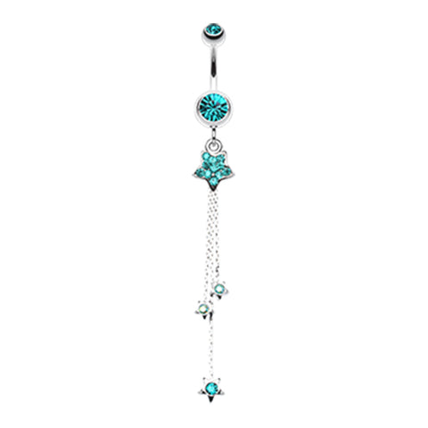 Aquamarine Orions Shooting Star Belly Dangle