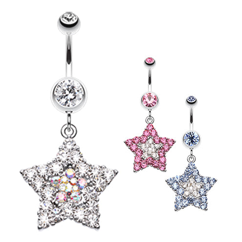 Star Dust Amongst Us Belly Bar - Dangling Belly Ring. Navel Rings Australia.