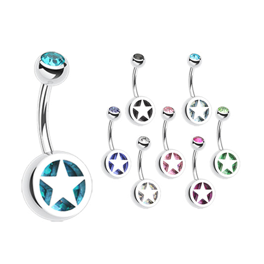 Star Colour Inlay Belly Rings - Basic Curved Barbell. Navel Rings Australia.