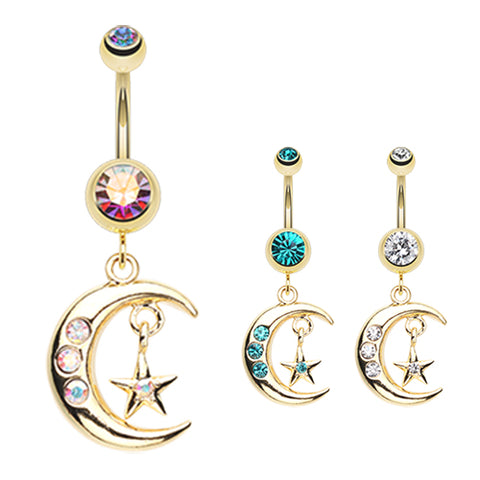 Dangling Belly Ring. Navel Rings Australia. Starry Night Moon Belly Dangle