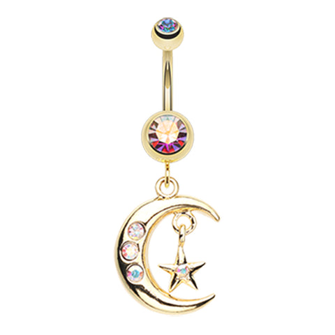 Aurora Borealis Starry Night Moon Belly Dangle