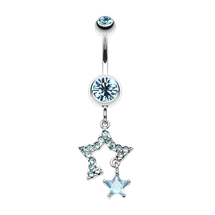 Aquamarine Count Your Lucky Stars Belly Dangle