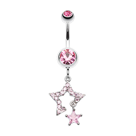 Count Your Lucky Stars Belly Dangle - Dangling Belly Ring. Navel Rings Australia.