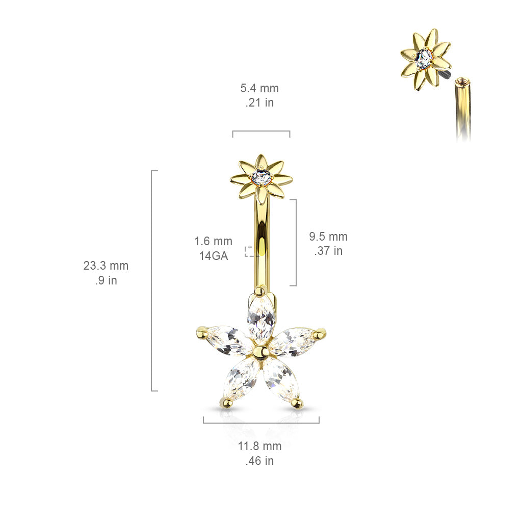 Fixed (non-dangle) Belly Bar. Navel Rings Australia. The Galatea Star Belly Bar in Gold