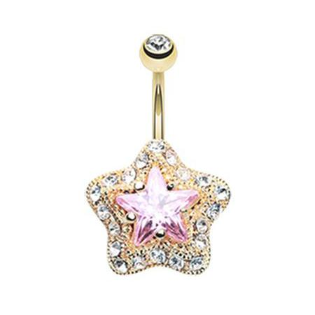 Pink Star Galactic Belly Bar - Fixed (non-dangle) Belly Bar. Navel Rings Australia.
