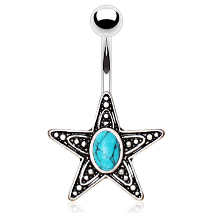Turquoise Starfish Belly Rings - Fixed (non-dangle) Belly Bar. Navel Rings Australia.