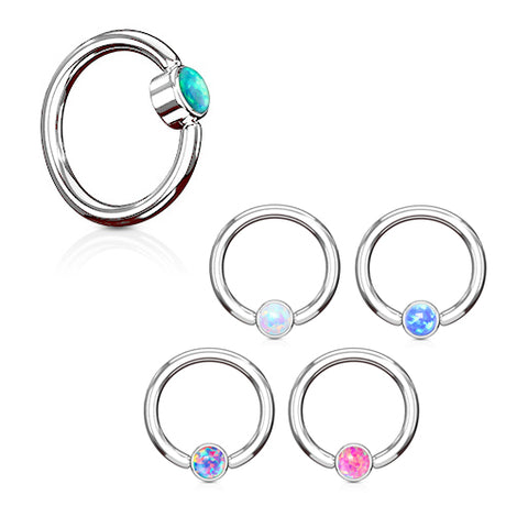 Captive Belly Ring. Navel Rings Australia. FLAT Opal Captive Belly Rings in Steel